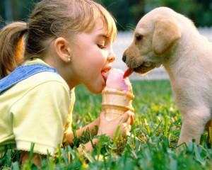 Забавная собачка щенок мороженое